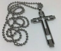 """NEW Large Mens Catholic Cross Pendant Necklace Stainless Steel 21"""" Ball Chain"""