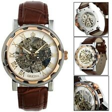 Luxury Fashion Mans Watch Leather Band Stainless Skeleton Mechanical Wrist Watch