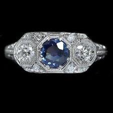 Delicate Sapphire Gems 925 Silver Sterling Rings Women Wedding Engagement Party