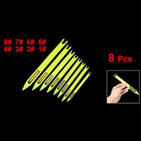 New 8 Pcs Plastic Yellow Plastic Fishing Line Repair Netting Needle Shuttles AD