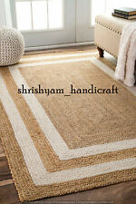 Indian Handmade Natural Jute Braided Rectangle Floor Rug 2x3 Feet Area Rag Rugs