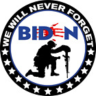"""ANTI JOE BIDEN STICKER 5"""" - Bloody Hand - NEVER FORGET - 13 Stars For Those Lost"""