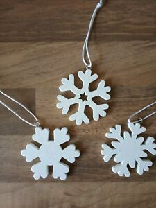 3 x nordic style white wooden christmas snowflakes hangin decoration/present top