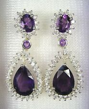 AMETHYST & WHITE SAPPHIRE EARRINGS 11.42 CTW - WHITE GOLD over 925 SILVER