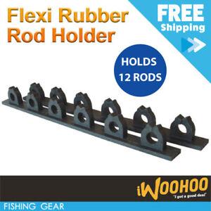 Rubber Fishing Rod Rack Pool Cue Holder 12 Items Fish Gear Storage Organiser