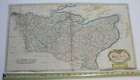 """1695 Robert Morden Large 25x14"""" Camden's Britannia Kent Map Engraving England"""