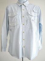 Eddie Bauer Fishing Shirt Vented Short Sleeve Size Medium Hiking Mens White Blue