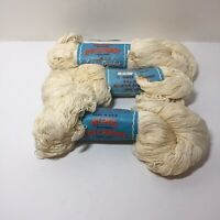 3 Skeins Nun's Boilproof Luster Crochet Knitting Cotton Thread Ivory 700 yards
