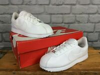 NIKE CORTEZ WHITE LEATHER TRAINERS CHILDRENS GIRLS LADIES VARIOUS SIZES T