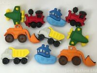 THINGS THAT GO ZOOM Plane Boat Train Truck Fire Engine Dress It Up Craft Buttons