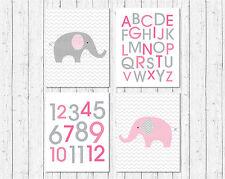 Pink Chevron Elephant Printable Nursery Wall Art