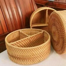 Desktop Storage Basket Hand-Woven Rattan 3 Compartment Storage Box Handmade NEW