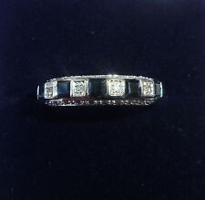 9ct White Gold Square Sapphire & 0.20ct Diamond Half Eternity Ring, Size M