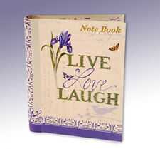 Live Laugh Love Floral Iris & Bird Hardback Lined paper Ring Binder Notebook 433