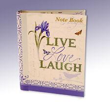 Live Laugh Love Floral Iris & Bird Hardback Lined paper Ring Binder Notebook 433