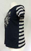Hobbs London Top T Shirt Blue Floral Butterfly Graphic Stripe Contrast UK S 8-10