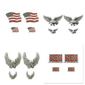 New Biker Jacket 4pc PIN SET Motorcycle Brooch Flag , Flag 2 , Eagle ,Wings up