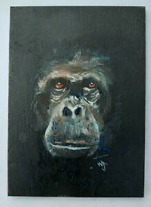 Original ACEO William Jamison Miniature Oil Painting Chimpanzee Chimp Ape