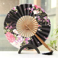 Chinese Japanese Folding Sakura Silk Hand Bamboo Pocket Fan Round Circle Gift