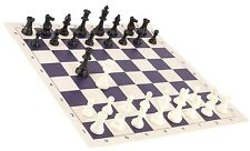"Regulation Black & White Chess Pieces & 20"" Purple Vinyl Board - Single Weight"