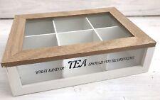 Teedose TEA Holz 6 Fächer weiss natur Vintage Holzkiste Teekiste Teebox Shabby
