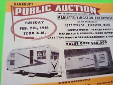 oddball 1961 CAMPER Motor Home EQUIPMENT Auction Brochure MAR-KING TRAILERS Mint