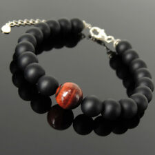Protection Stones Clasp Bracelet Red Tiger's Eye Onyx Sterling Silver Chain 1426