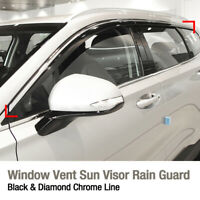 Window Sun Vent Visor Rain Guard Black With Chrome Molding For HYUNDAI Santa Fe