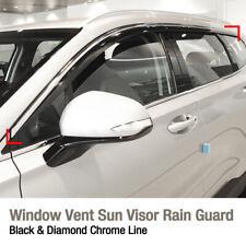 Window Sun Vent Visor Rain Guard Black Chrome Line for HYUNDAI 2019 Santa Fe TM
