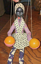 Vtg Celluloid Woman Marionette Maracas Celluloid Wood String Puppet Girl Doll