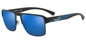 EMPORIO ARMANI Sunglasses EA2066 300155 MATTE BLACK BLUE MIRROR LENS