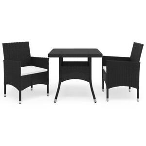 3 Piece Garden Dining Set Black Poly Rattan and Glass