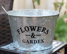 Farmhouse Galvanized Flowers & Garden Planter Pot Rustic Country Home Decor