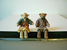 Enesco Mama & Papa Teddy Bears Dangling Legs 1998 Numbered and Id'd on Bottoms
