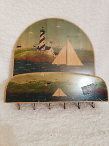 NAUTICAL DESIGN WOODEN MAIL AND KEY HOLDER