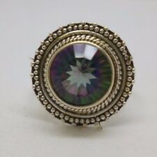 Beautiful Sterling Silver Mystic Topaz Ring size N with 925 stamp inside