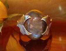 Ring Labradorit Stein d Sternzeichen Löwe gehalten von Blatt Sterling Silber 925