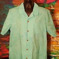 Men's Caribbean Joe Light Blue Button Up Hawaiian Shirt Palm Trees Size Large
