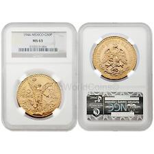 Mexico 1944 50 Pesos Gold NGC MS63