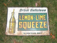 Vintage Antique Rare Lemon Lime Squeeze Tin Soda Bottle Sign Pop Advertising