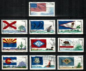 UNITED STATES Scott's 4273-82 ( 10v ) Flags of Our Nation F/VF Used ( 2008 ) #1