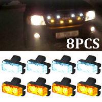1 Set LED Car Truck Emergency Warning Strobe Lights Bars Dash Grill Amber/White