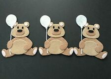 Handmade 3 bear Embellishments with white glitter felt balloon. felt Die cuts
