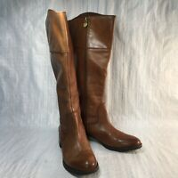 Franco Sarto Chipper Brown Leather Round Side Zip High Womens Riding Boots Sz 7M