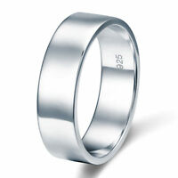 Men's Solid Sterling 925 Silver Wedding Band Ring Rhodium Plated Ring