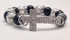 Handmade Rhinestone cross stretch bracelet