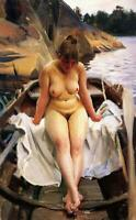 "high quality oil painting 100% handpainted on canvas ""A naked girl on the boat """