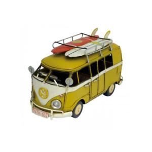 Volkswagen Kombi Van with 2 Surfboards Ornament Vintage Gift For Decor - Yellow