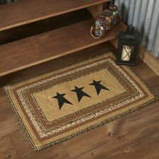 VHC Kettle Grove Stenciled Star Jute Primitive Country Rectangle Braided Rug