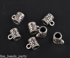 20pcs 9x7mm Tibetan Silver Style Big Hole Charms Spacer Bail Linker Loose Beads